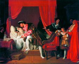 Ж. о. Энгр. Франциск I у постели умирающего Леонардо. 1818
