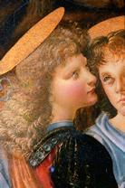 Мастерская Вероккьо. Крещение Христа. 1470-14-78. На фрагменте изображен ангел, написанный Леонардо